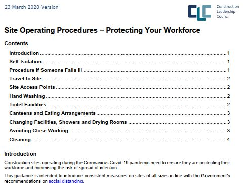 CLC Construction Site Operating Procedures