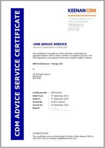 Keenan CDM - CDM Advice Service Certificate EXAMPLE
