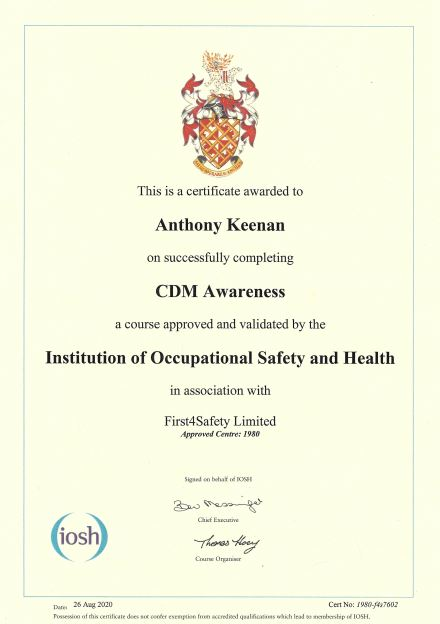 IOSH CDM Awareness Course Cert 26 Aug 2020