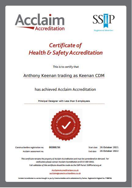 Keenan CDM Acclaim Accreditation for Principal Designer 2021-2022