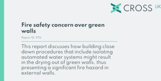 CROSS Safety Report - Green Walls Fire Risk