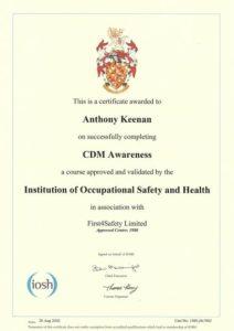 IOSH CDM Awareness Course Cert 26 Aug 2020